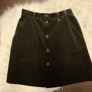 Vintage Laura Ashley Dark Green Corduroy Skirt